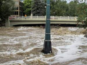 Flood marker in Boulder